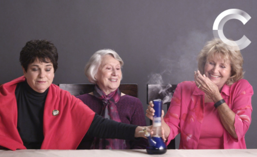 Senior women smoking cannabis