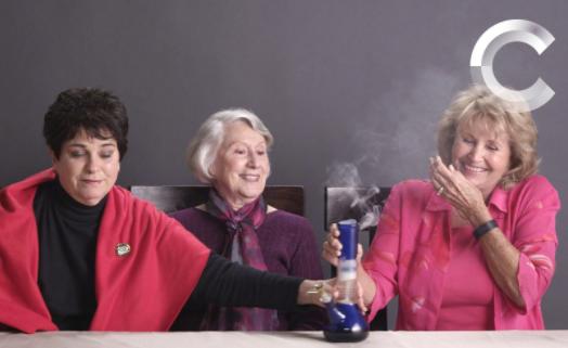Senior women smoking cannabis