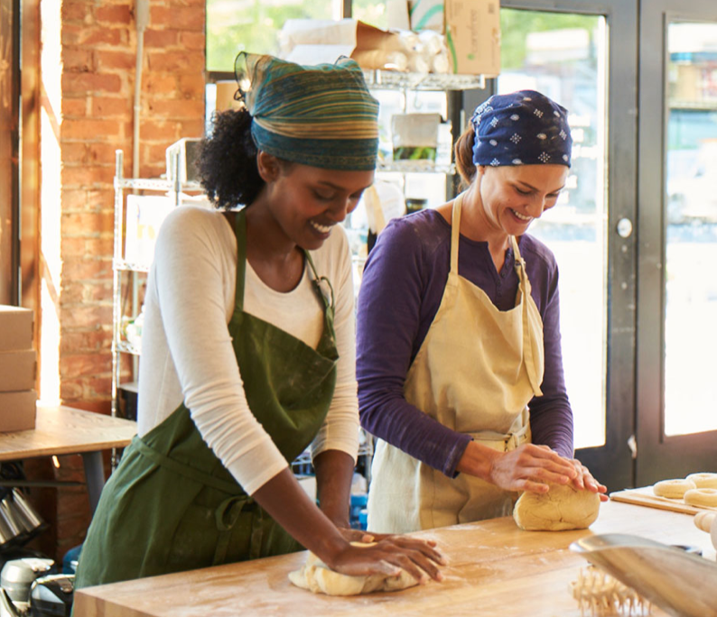 Picture of Two Women baking in a small business